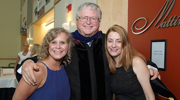 Professor Hewett with Marcie and Sheri