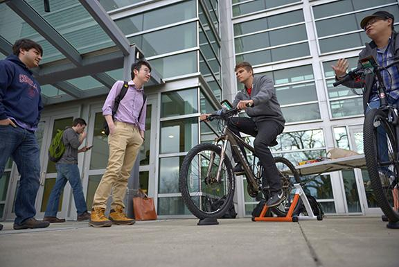 Student on a bike project